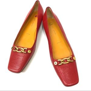 St. John Red Leather Flats with Gold Links